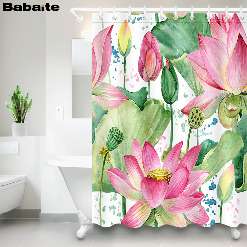 Babaite Bathroom Lotus Flower Shower Curtain Waterproof Polyester Fabric with 12pcs Hooks rideau de douche