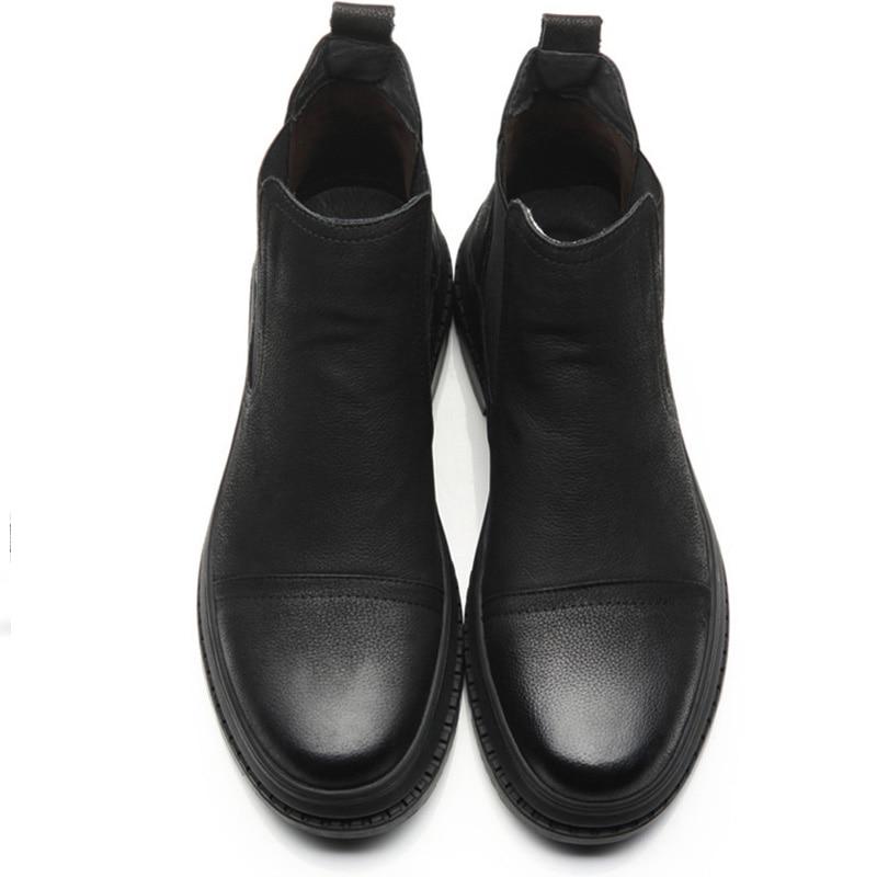 No Casuales Aumento Hombre Altura Botas Plush Otoño Tobillo Genuino Invierno Chelsea Plush Zapatos A Masculinos Cuero Hombres Vintage Gamuza Hecho E De La D50 Mano with n6BHqw7