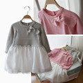 2016 New Baby Girls sweater Dress Costume children autumn Dresses pink gray color toddler girls Clothing