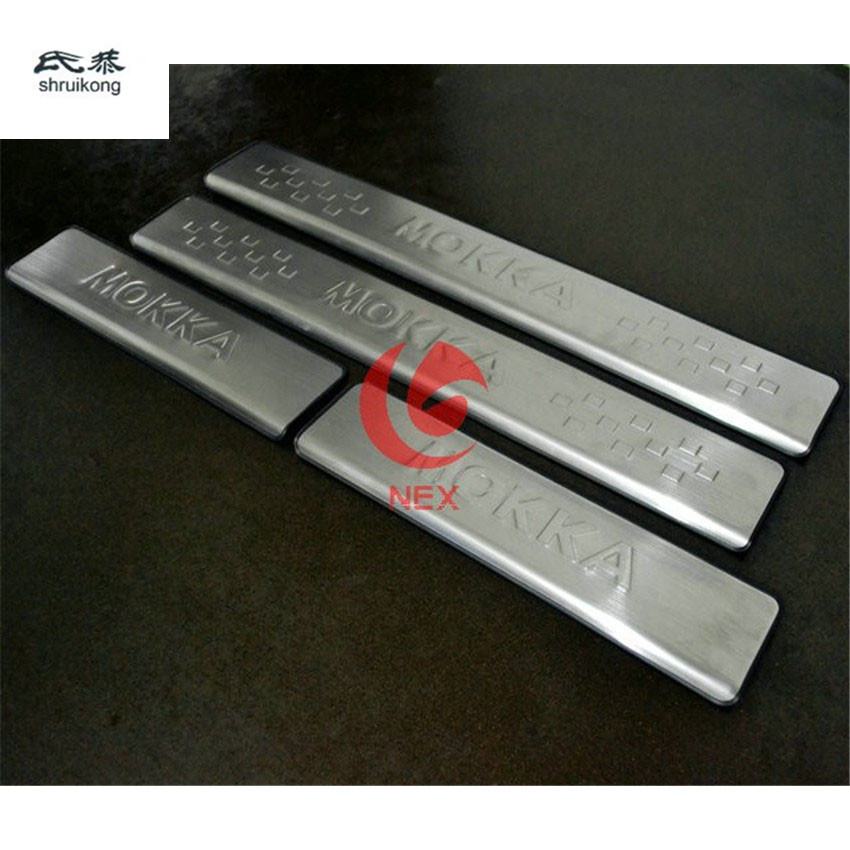 FREE SHIPPING For 2012 2013 2014 OPEL MOKKA VAUXHALL MOKKA STAINLESS DOOR SILL PLATE ENTRY SCUFF COVER opel ветровики дверей mokka 2012–н в шелкография серебро