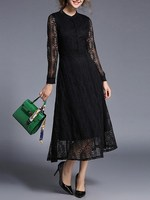New Women High Waist Elegant Party Band Collar Long Sleeve Hollow Out Fit And Flare Sheer