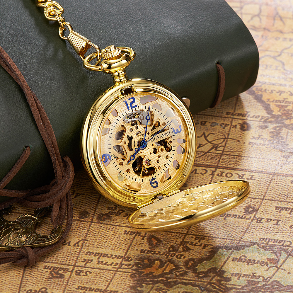 Relogio Masculino Fashion Luxury Brand OYW Full Steel Case Analog Pocket Watch Men Male Mechanical Hand Wind Pocket Fob Watches