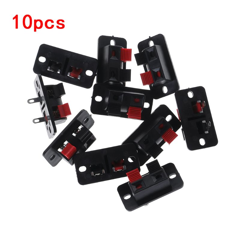 10PCS Spring Clip WP2-4 Stereo Speaker Plate Terminal Strip Board 2 Way Binding Post Connector Socket Block Push Type