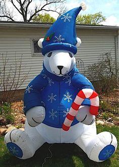 8 ft tall outdoor xmas inflatable sitting polar bear with a cane for christmas decoration - Polar Bear Inflatable Christmas Decorations