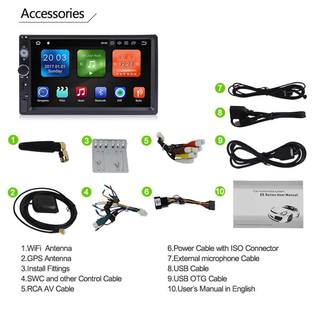 Eunavi 2 Din 7 inch Octa core Universal Android 8 0 4G RAM Car Radio PC  Stereo GPS Navigation WiFi 1024*600 Touch Screen USB BT