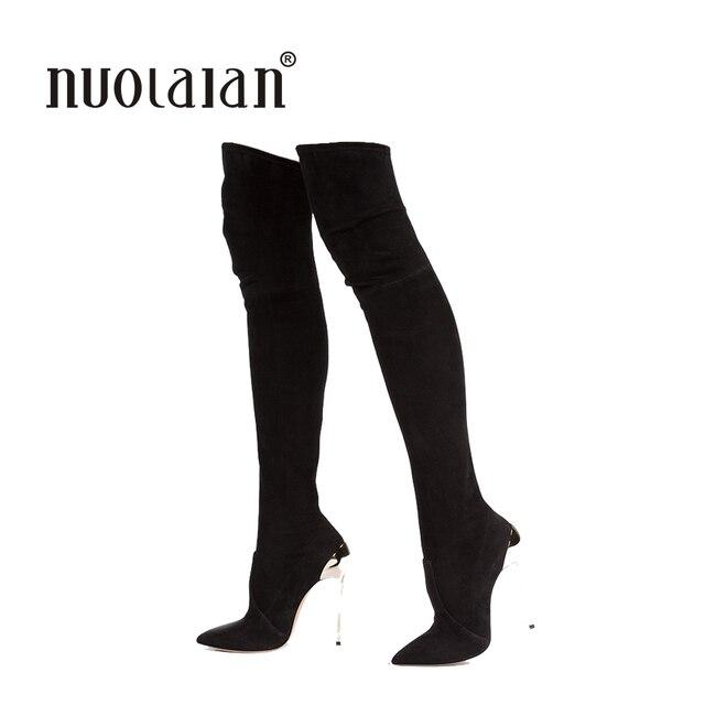 Femmes Slim boot Mode sexy Longueur au genou Chaussures en caoutchouc Chaussures longues NnMNg7