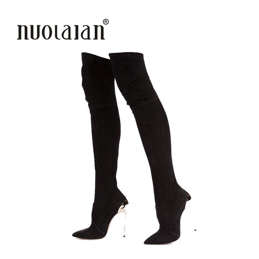 2a1fa48be 2018 الخريف الشتاء النساء الأحذية تمتد فو الجلد المدبوغ سليم الفخذ عالية  الأحذية أزياء مثير على الركبة أحذية عالية الكعب أحذية امرأة
