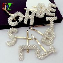 F.J4Z Hot Fashion Simulated Pearl Letter Hair Clips Gorgeous Women Initial Hairpins Ins Girls Jewelry Palillos del pelo