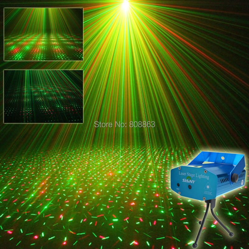 ESHINY Mini R&G sound Moving Laser projector Club Bar lighting lights Dance Disco home party Xmas DJ Stage Light show Y1 +Tripod