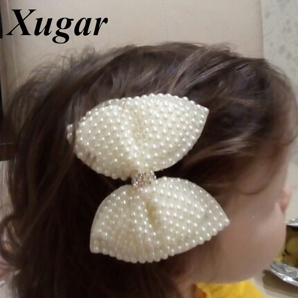 2 Pcs Boutique Pearl Hair Bows For Sweet Girls White Rhinestone Hairbows With Alligator Clip Lovely Pearl Hair Accessories rhinestone artificial pearl bows earrings