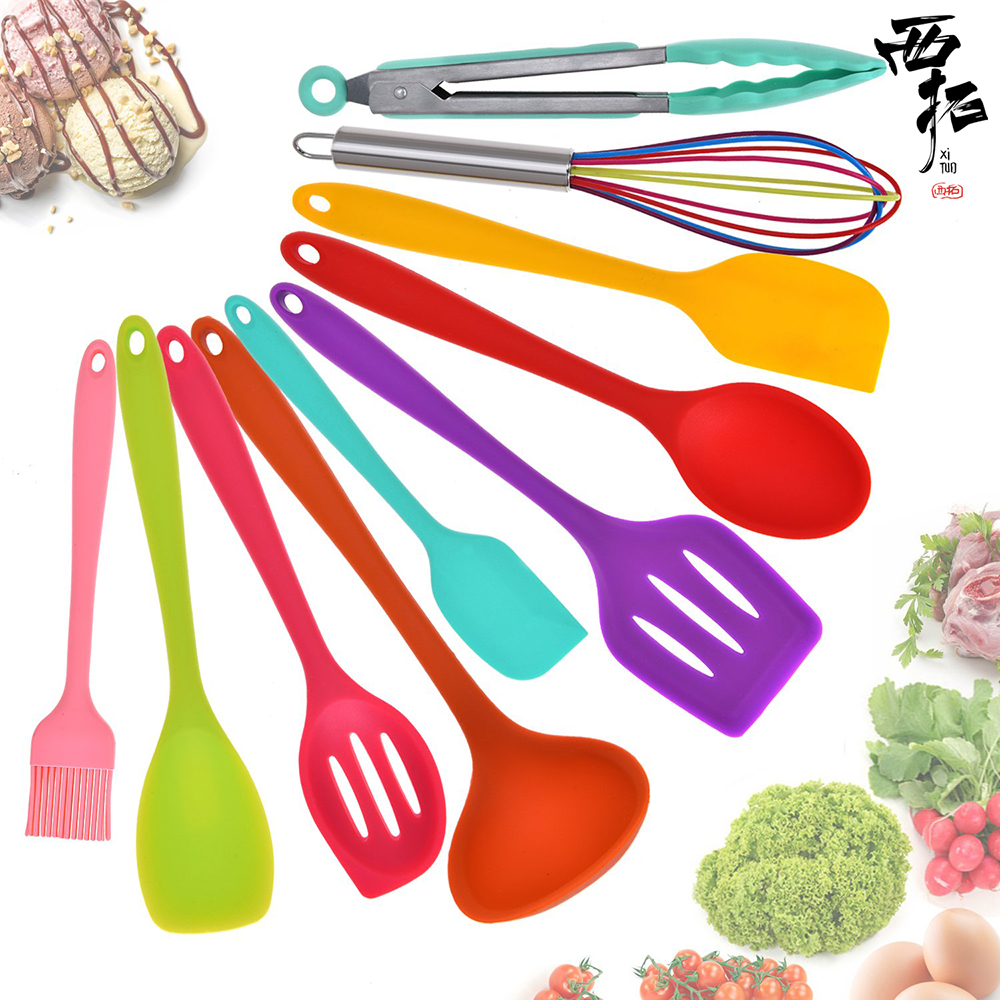 XITUO Food grade silicone kitchenware 10 piece set scraper brush household egg beater high temperature non-stick color kitchenXITUO Food grade silicone kitchenware 10 piece set scraper brush household egg beater high temperature non-stick color kitchen