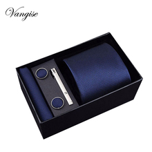 Vangise Mens Tie Black Blue Paisley Polyester Classic  Hanky Cufflinks&clips Set For Men Formal Wedding Party Groom Hot Sell
