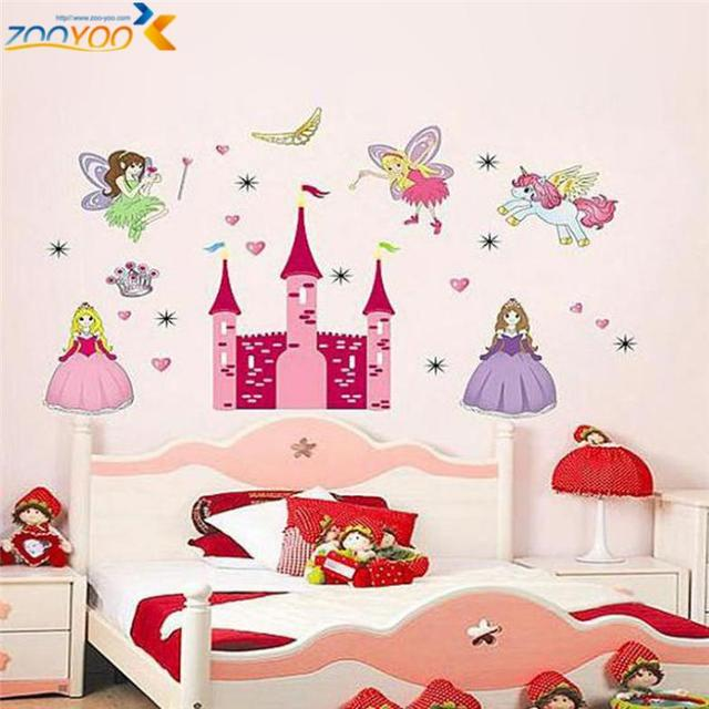Princess Castle Heart Horse Angel Wall Stickers For Kids Room Girls Room  Sticker Children Wall Decal Part 3