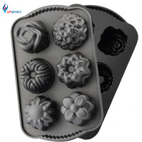 Upspirit 6 Cavities Non Stick Cast Aluminum Flower Cake Mold For DIY Pudding Cake Chocolate Pastry
