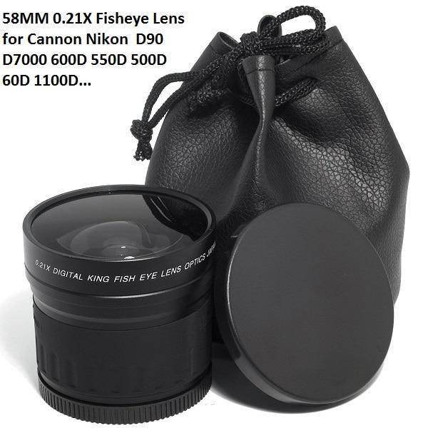 58mm 0.21X 어안 렌즈 (Canon Nikon) 소니 58mm UV 프론트 쓰레드 DSLR 카메라 및 캠코더