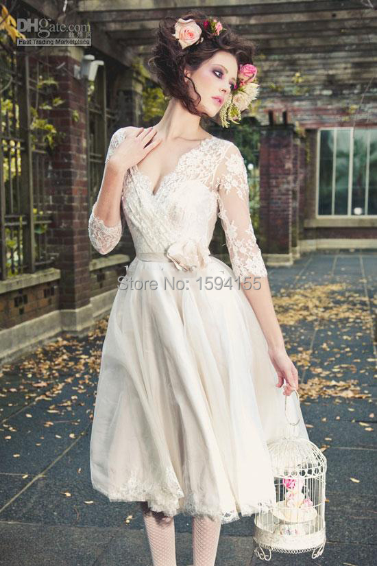 Custom Made 2015 V Neck Full Lace Short Boho Wedding Dresses With Half Sleeve Knee Length Bridal In China From Weddings
