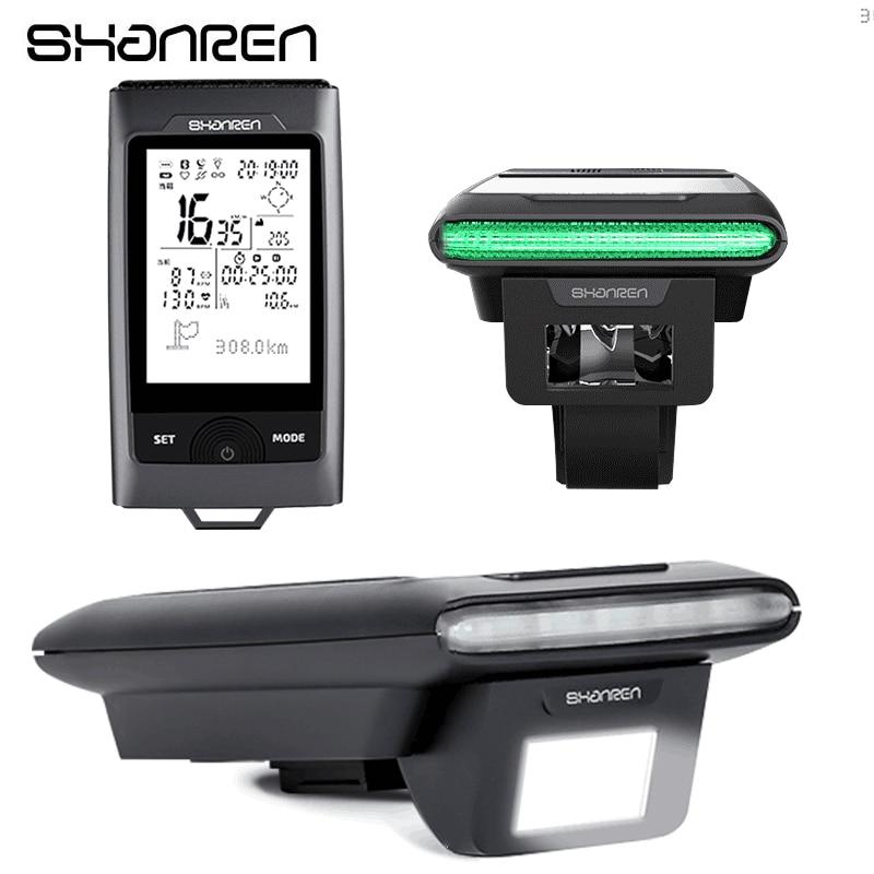 SHANREN Vélo Lumière 2 dans 1 Bluetooth GPS Ordinateur De Vélo Compteur De Vitesse Phare Étanche Vélo Lampe Ordinateur De Vélo Accessoires