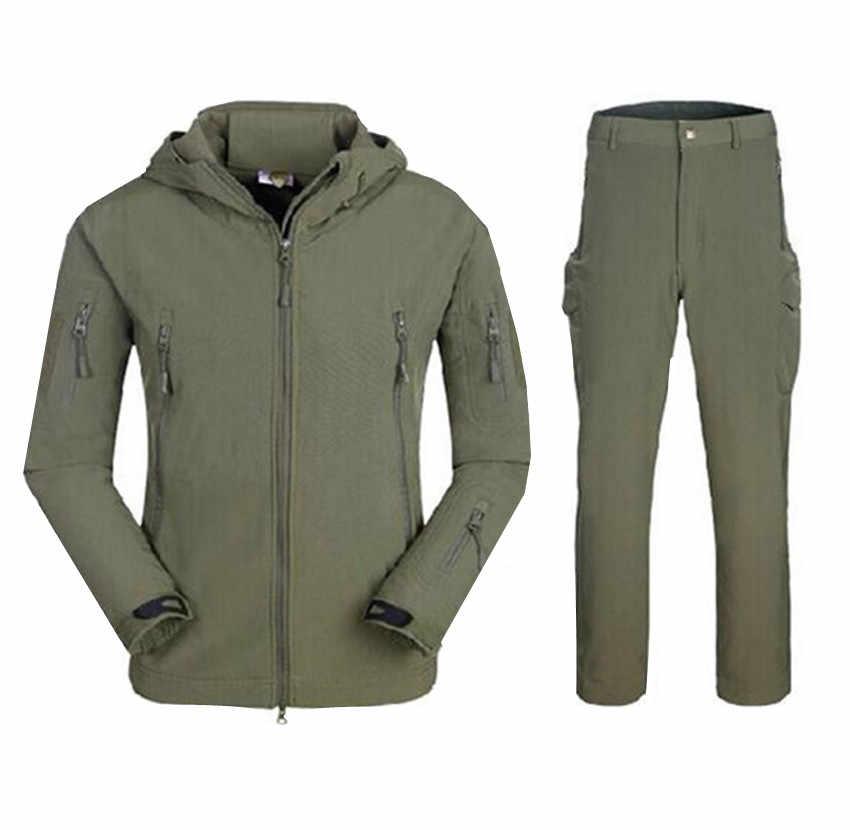 Wojskowe armii mężczyzn s kurtki zimowe płaszcze garnitur płaszcz zimowy męskie softshell kamuflaż polar ciepła kurtka garsonka z długimi spodniami