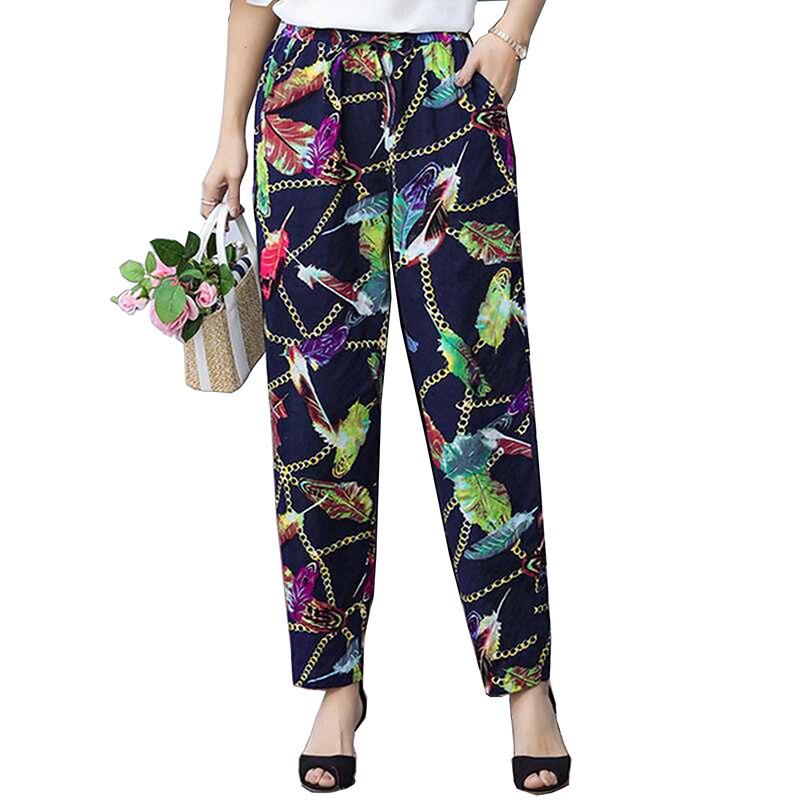 2019 summer new print   pants   cotton linen casual   pants     wide     leg     pants   Vintage Elastic Waist Cotton Linen Thin Straight   Pants