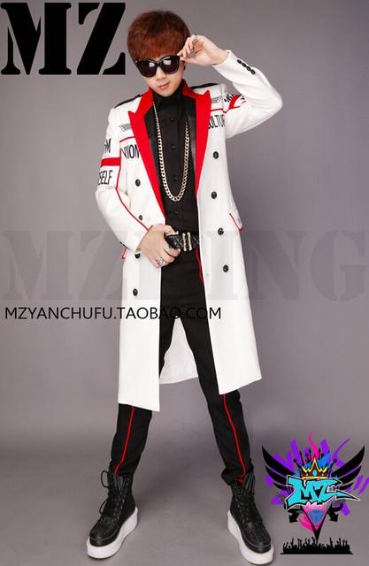 Newest Bigbang Stage Show Coat MEN Singers DJ Fashion Slim Red ...