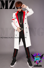 Newest Bigbang Stage Show Coat MEN Singers DJ Fashion Slim Red White Letter Long Suit Jacket Dress Clothing Costumes  S-5XL