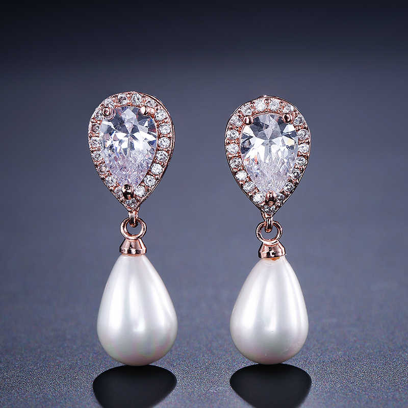 UILZ New Fashion Water Drop shape Bridal Pearl Earrings For Women AAA Cubic Zirconia Long Drop Earrings UE516