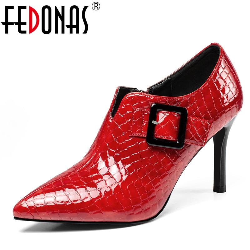 FEDONAS Brand Women Thin Heels Buckles Party Wedding Shoes Woman Zipper Short Ladies Shoes 2019 New