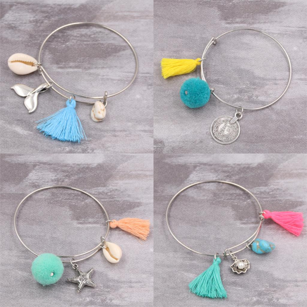 1pc Summer Shell Starfish Charms With Tassel Bangle Bracelet Pompons Jewlery Adjustable Expandable Wire Bangle Beach Gift