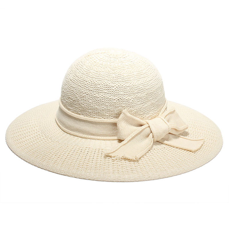 2017 new summer hats for women solid color bow knot sun hat ladies elegant beach cap