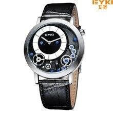 Горячие продажи Две Руки EYKI Часовой Бренд Кожа Часы Dual Time Цифровой Япония Движение Кварцевые Аналоговые Часы Водонепроницаемые Наручные Часы