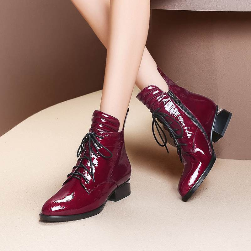 Image 4 - 2019 superstar pearl pointed toe keep warm zipper ankle boots  elegant motorcycle boots brand pearl heels sexy winter shoes L2f1Ankle  Boots