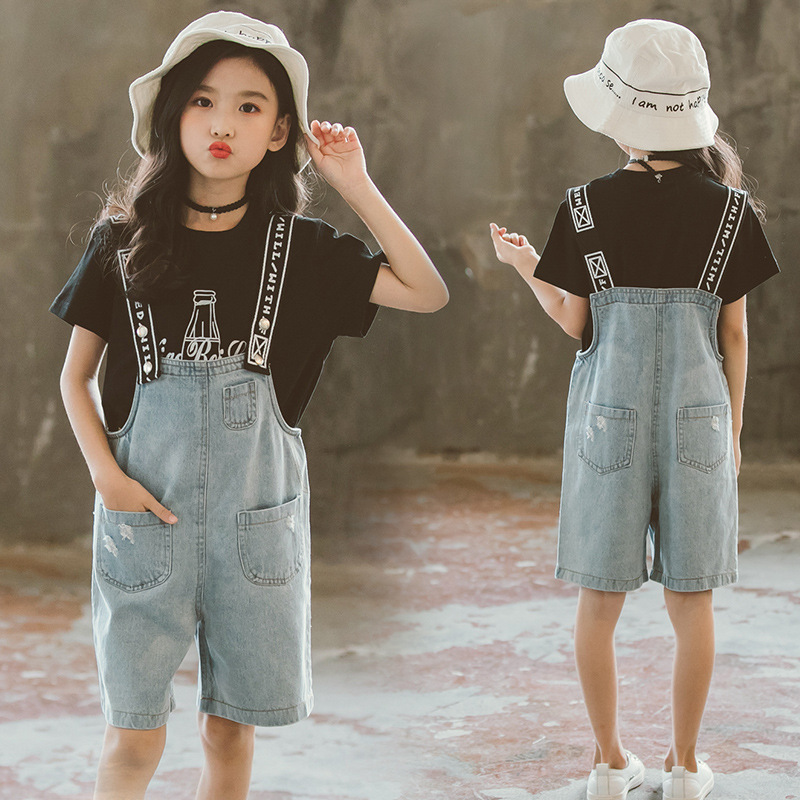 Girls Summer Clothes Set 2019 Kids Clothing New Girl Clothes Casual Costume For Children 6 8 12 Year Teen T-Shirt+Jumpsuit 2 Pcs girl