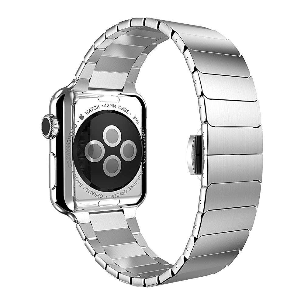 CRESTED Luxury butterfly loop watchband stainless steel strap For Apple watch band 42mm 38mm Link bracelet straps for iwatch 1/2