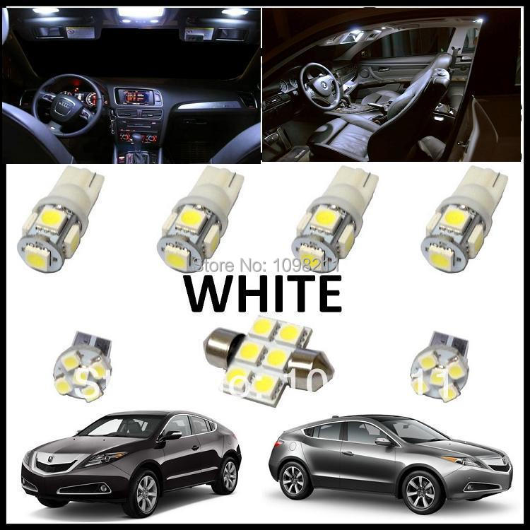7PCS Set White LED Lights Interior Package Kit For Acura
