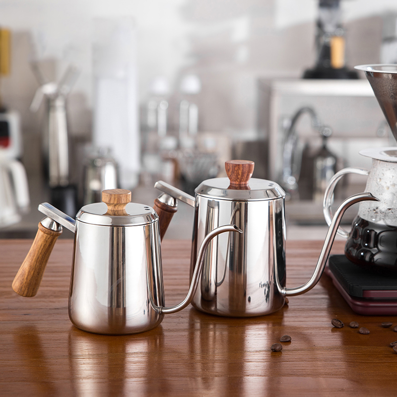 350ml 550ml Stainless Steel Drip Kettle Coffee kettle Swan Neck Drip Coffee Tea Pot Milk Frothing Jug With Wooden Handle
