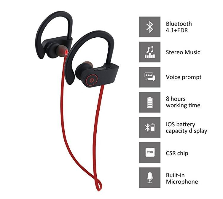 Sport Bluetooth Headphones IPX7 Waterproof Wireless Headphone Sports Bass Bluetooth Earphone With Mic For Phone IPhone Huawei