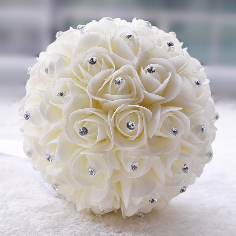 Hot Handmade White Ivory Bridal Bridesmaid Flower Wedding Bouquet Artificial Brooch Crystal Bouquets In From