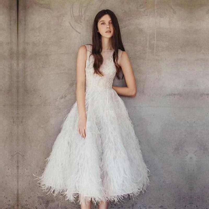 Célébrité Femmes Gland Robes Manches Soirée Fête Date Mode De Midi Élégant 2018 Blanc Plumes Sans Tenue Anniversaire ptUOaF