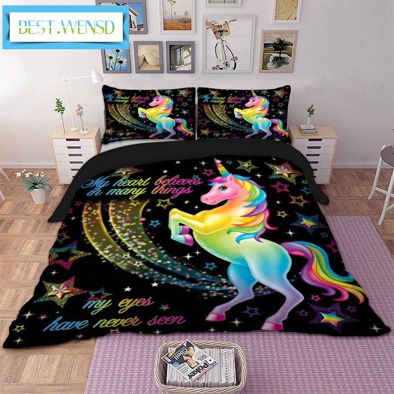 BEST. WENSD ensemble de literie licorne étoiles dessin animé housse de couette taies d'oreiller double reine roi Super King Size literie couverture de lit