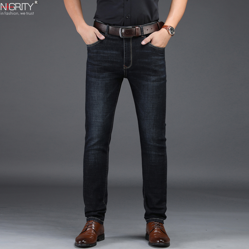 NIGRITY Brand 2019 New Men's Fashion   Jeans   Business Casual Stretch Slim   Jeans   Classic Trousers Denim Pants Male big size 29-42