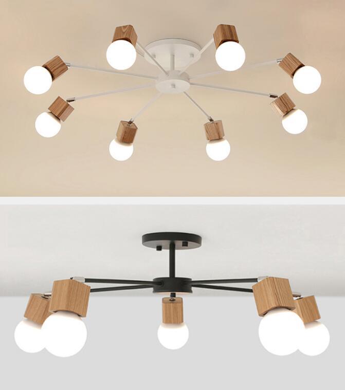AC100V~220V E27 Wood LED Ceiling Lights Living Room Bedroom Modern Ceiling Lamp Modern Lustres De Sala Plafon Luminarie Lights