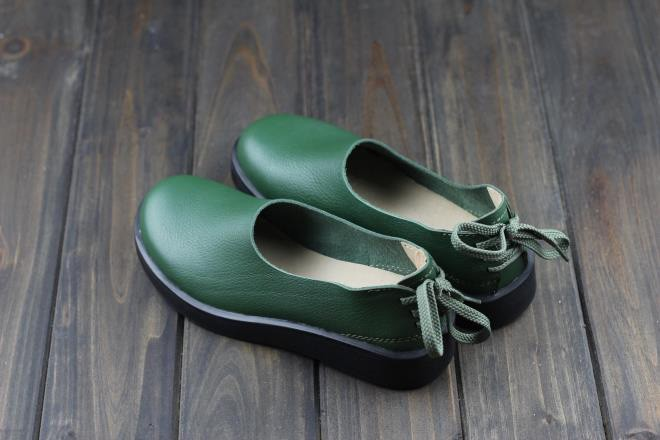 woman leather slip on shoes