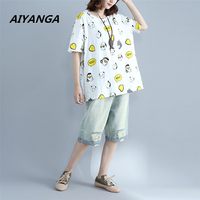 AIYANGA Cotton Linen Personality Women Loose T Shirts Fashion Cute Character Print Tops Short Sleeve Female