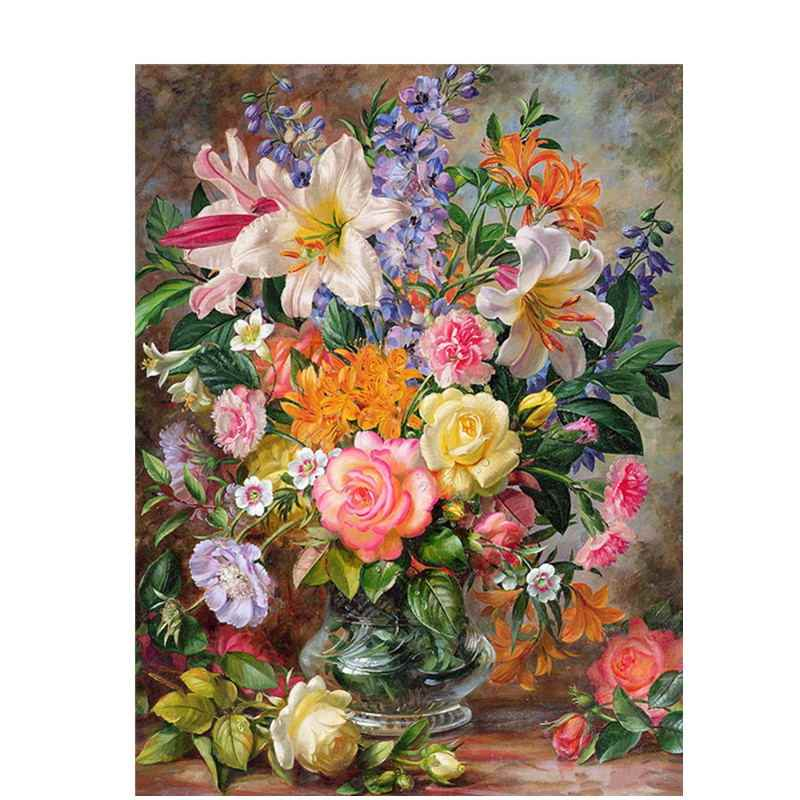 BAISITE DIY Framed Oil Painting By Numbers Flowers Pictures Canvas Painting For Living Room Wall Art Home Decor  Y5067