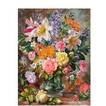 BAISITE DIY Framed Oil Painting By Numbers Flowers Pictures Canvas Painting For Living Room Wall Art Home Decor Y5067(China)