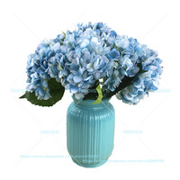 5pcs Blue Hydrangea Display Silk Flower Home Table Decorative Artificial Flowers Wedding Party Event Free Shipping