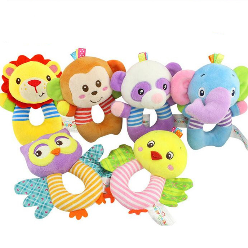 Cute Plush Baby Toy Kids Gift Animal Shaped Catoon Hand Bells Ring Rattles Kid Plush Soft Toys 20% Off