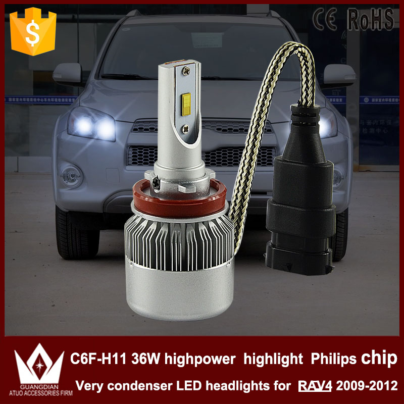 Guang Dian car led light Headlight Head lamp DIPPED BEAM LOW Beam condenser C6F 6000K white 36W H8/ H9 / H11 FOR RAV4 2009~2012 chun guang coconut candy 5 6 ounce