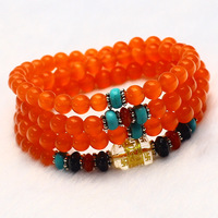 Wholesale 6mm 108 Bead Natural Orange Red Cat Eye Crystal Round Charms Lucky Gift Bracelets Bangles for Women Crystal Jewelry