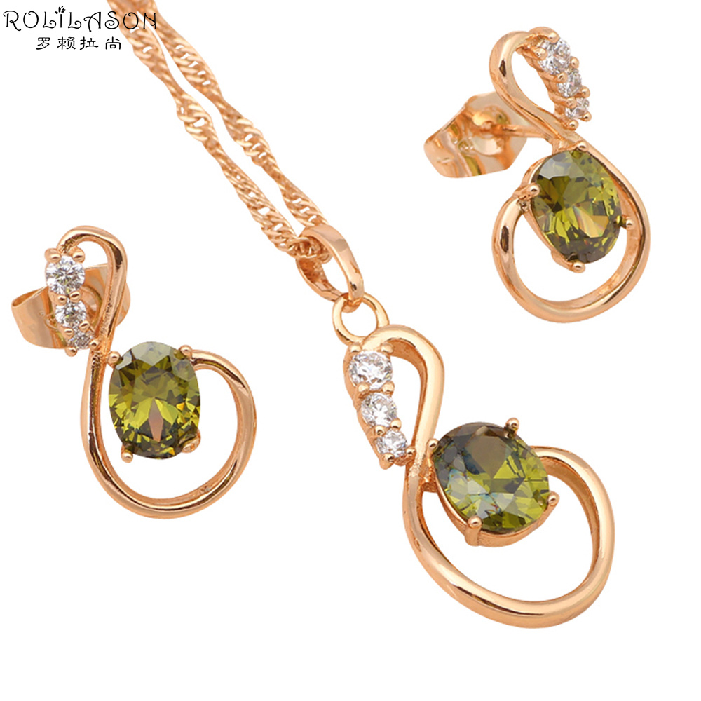Romantic Style Peridot Overlay Fresh Green Crystal Fashion Jewelry Gold  Tone Jewelry Sets Earrings & Necklace